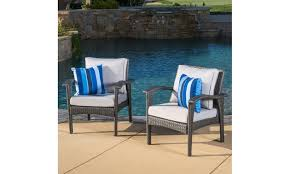 closeout bleecker outdoor wicker cushioned club chair 2 pack