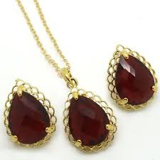 stunning ruby red crystal gold plated tear drop necklace set uk gift boxed for