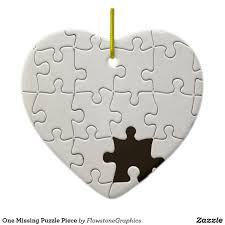 Robin Gilpin Ceramic Designs One Missing Puzzle Piece Ceramic Ornament Zazzle Com