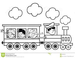 Treno E Bambini Felici Pagina Di Colorin Illustrazione Vettoriale