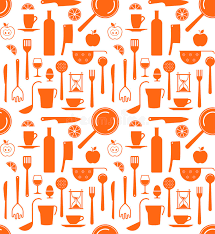 Background With Kitchen Utensils Silhouettes Stock Vector