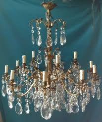 large french brass and crystal chandelier