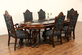 sold renaissance antique dining set table leaves room chairs new upholstery mahogany furniture small kitchen old and victorian oak marble top plank tables