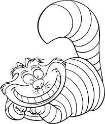 Small Picture Alice in Wonderland Character Cheshire Cat Coloring Page