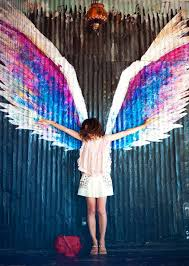 painted angel wings on wall amazing