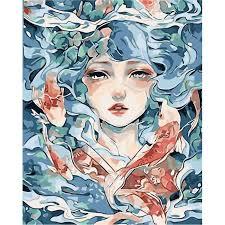 Tranh tô màu theo số sơn dầu số hóa Cô Gái Biển Cả - Tranh sơn dầu Thương  hiệu OEM
