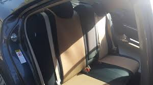 custom rear seat covers for a toyota camry in neosupreme black and tan