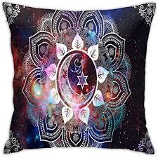 lucies Bohemian Hippie Red <b>Starry Sky</b> and <b>Moon</b> Throw Pillow ...