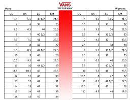 Vans Shoes Size Conversion Chart Soleracks