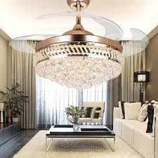 42 inch modern led crystal ceiling fans 42inch remote control chandelier ceiling fan light with 4 invisible retractable blades pendant lamp chandelier light