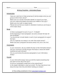 Does An Essay Have Paragraphs Writing Checklist For Informational Writing Great To Get