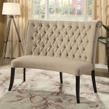 image is loading merissa round curved dining loveseat bench tufted scroll