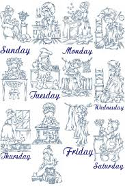 Vintage Embroidery Designs Machine Days Of The Week From Yesteryear Embroidery Designs