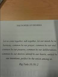 Rig Quote Magnificent Quote From The Rig Veda In The Power Of Dharma On Coming Together