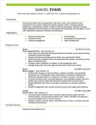 Example Of A Server Resume