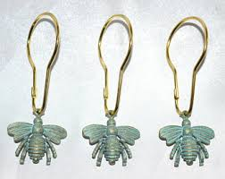 garden hooks. Bee Shower Curtain Hooks, Set Of 12, Bronze W/Verdigris Patina, Honey Garden Hooks