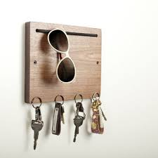 Blokkey Eyewear and Key Holder in Walnut by Brad Reed Nelson: Wood Wall  Organizer |
