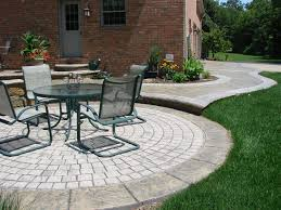 round patio. Round Concrete Patio With Cobblestone Pattern
