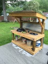 Outdoor Canning Kitchen Grilling Grill Weber Cooktop Weber Grill Cart Around The