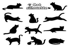 シルエット猫のイラスト無料素材白黒カラー じゃぱねすくライフ