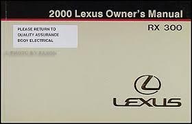 2000 lexus rx 300 wiring diagram manual original 2000 lexus rx 300 owners manual original