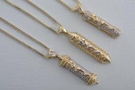elegant 14k gold mezuzah pendant jewish