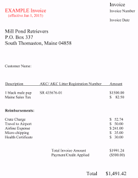 An Example Of An Invoice Mill Pond Retrievers 98
