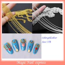 Decorative Nail Art Designs 100M Punk Gold chain Acrylic nails Tiny Line Design DIY Decoration 82