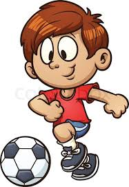 playing cartoon cartoon kid playing soccer vector clip art illustration with simple