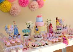 make it a purple princess party and set up the cake table with the princess  barbies