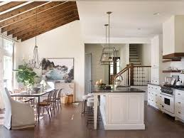 dining room wood beams on sloped ceiling