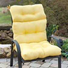 yellow linen fabric height back outdoor chair cushion sets on black wrought iron outdoor chair