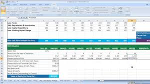 cash flow model excel dcf discounted cash flow valuation in excel video youtube