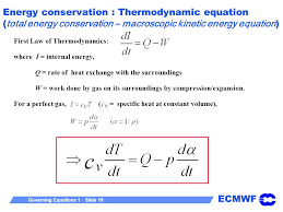 19 energy conservation thermodynamic equation