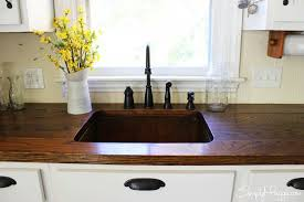 white country kitchen with butcher block. Country Kitchen, Copper Sink Www.SimplyMaggie.com White Kitchen With Butcher Block