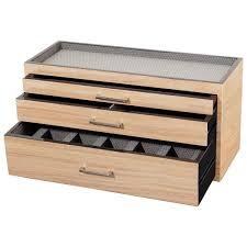 wolf meridian wooden modular 3 drawer dresser valet watch storage box 3 colors wf79