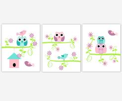 baby girls canvas nursery wall art purple lavender teal aqua pink green birdhouse birds canvas prints baby nursery decor