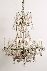 French Louis XV style silvered bronze chandelier draped in a variety of  elegant colored Baccarat crystal apples, pears and pomegranates.