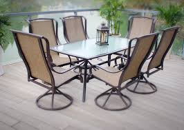 image of outdoor patio dining furniture sling 7pc set bronze aluminum steel pertaining to swivel