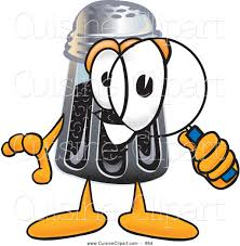 cartoon pepper shaker clipart  looking through magnifying glass clipart