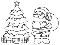 Abstract xmas tree and glowing floral. Christmas Trees Coloring Pages