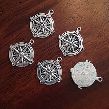 bulk 8 silver compass pendants antique