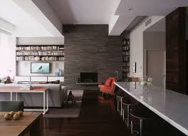 stone veneer fireplace living room contemporary with beams modern bar stools and counter stools