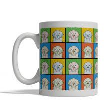 clumber spaniel dog cartoon pop art mug left view