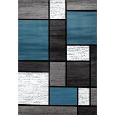 contemporary modern boxes blue gray 3 ft x 5 ft area rug