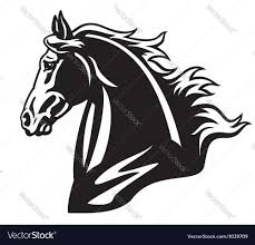 draft horse head silhouette.  Horse Horse Head Black And White Vector Image In Draft Head Silhouette T
