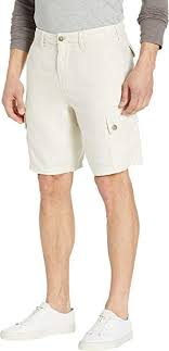 True Grit Mens Textured Linen Cargo Shorts