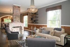 ... Living Room, Modern Country Living Room Brick Double Sided Fireplace  Barn Board On Walls Country