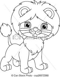 Small Picture Clip Art Vector of Young lion coloring page Young lion cub on a