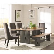 Scott Living Marquette Live Edge Dining Table Set With Bench Value